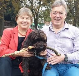 Angie Bray with partner Nigel and dog Poppy
