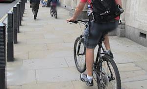 Cyclist on pavement
